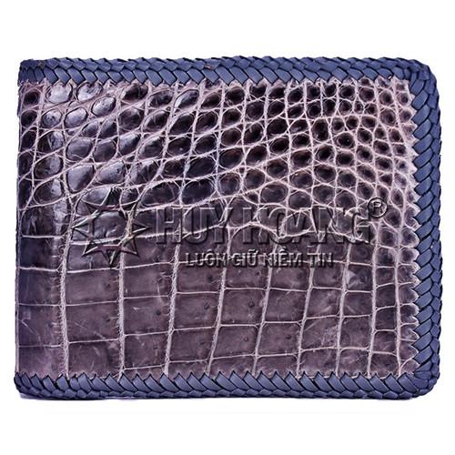 Bóp da cá sấu đan viền gai bụng màu xám SH4172