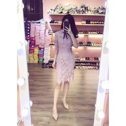 Váy ren body cúc ngọc nơ cổ cực xinh