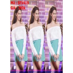 Sét áo kiểu cúp ngang và chân váy xòe đắp chéo thời trang SEV419