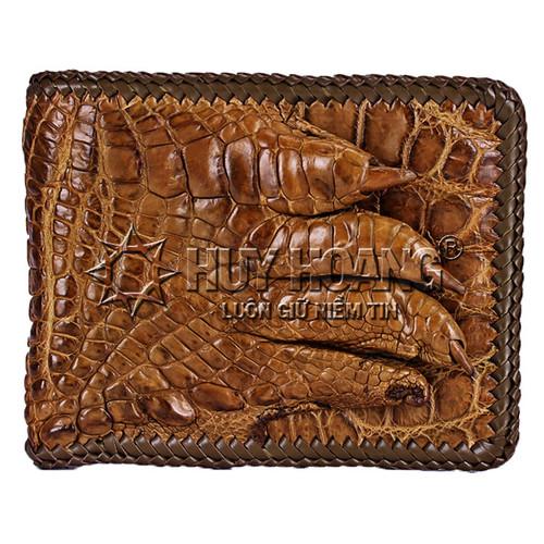 Bóp da cá sấu Huy Hoàng  đan viền gù chân màu rêu SH1272