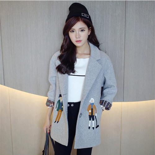 Áo khoác dạ xám dạng vest