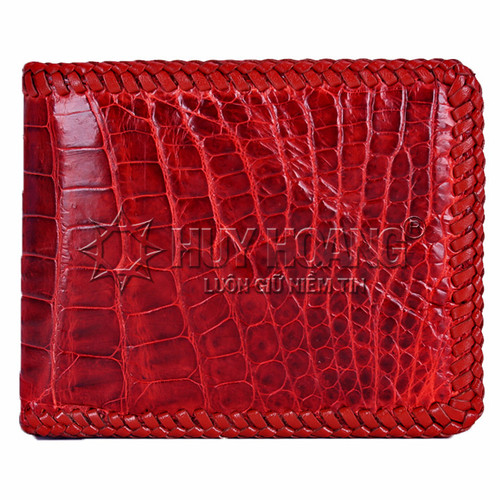 Bóp da cá sấu Huy Hoàng  đan viền gai bụng màu nâu đỏ SH2172