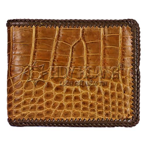 Bóp da cá sấu Huy Hoàng đan viền gai bụng màu rêu SH5172