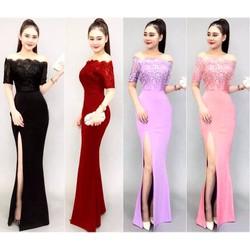 Đầm maxi xẻ đùi phối ren Bạch Nguyễn