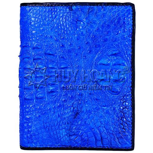 Bóp da cá sấu nguyên con kiểu đứng màu xanh dương SH8072