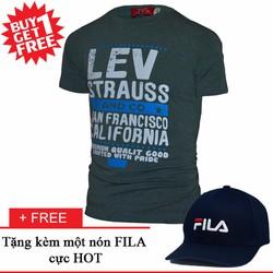Áo Thun Ngắn Tay Lev Strauss Trẻ Trung + Nón FILA Cực HOT