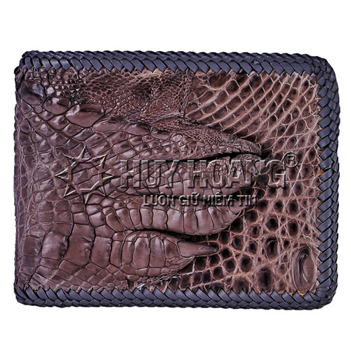 Bóp da cá sấu Huy Hoàng đan viền gù chân màu xám SH0272