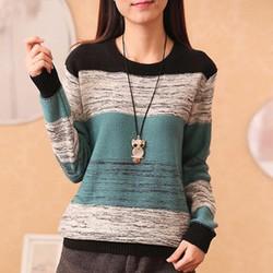 áo sweater phối màu điệu đà Mã: AK2056 - XANH
