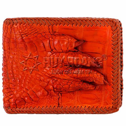 Bóp da cá sấu đan viền gù chân màu vàng SH9172