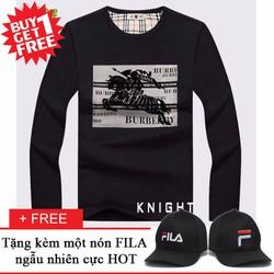 Áo Thun Nam Dài Tay Thời Trang KNIGHT + Nón FILA Cực HOT