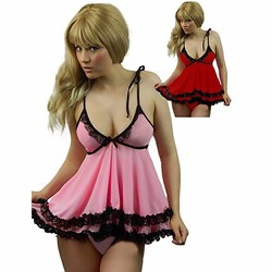 Đầm ngủ form ngắn sexy màu hồng phấn đen TK929