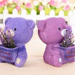 Qùa tặng trang trí gấu tím và hoa bằng gốm sứ