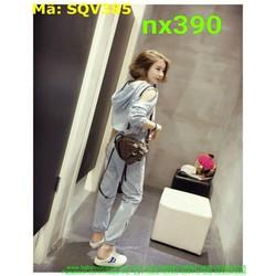 Sét áo kiểu có nón khoét vai và quần dài thời trang năng động SQV385