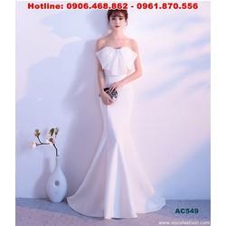 Áo cưới đuôi cá cúp ngực đơn giản, thắt nơ sang trọng