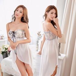 Váy ngủ cup ngực ngang trắng ren trong suốt sexy TK854