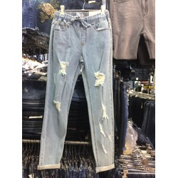 jeans baggy lưng thun rách xk