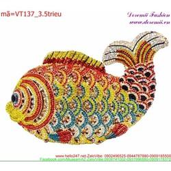 Ví cầm tay dự tiệc hình cá chép đính đá rực rỡ sang trọng VT137