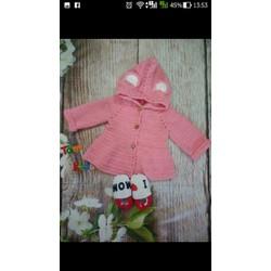 Áo khoác phối nón màu hồng
