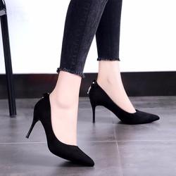 giày cao gót bít mũi gót nhọn hậu đính nơ