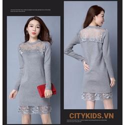 Đầm Bầu Thu Đông - Váy Len Pha Zen Cách Điệu - Ghi
