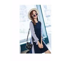Đầm xanh sọc tay nơ