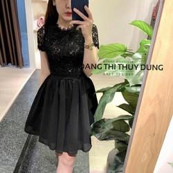 Đầm xòe tay con phối ren cực xinh có quần bên trong-  hàng nhập