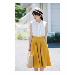 Set áo trắng váy vàng xinh xắn
