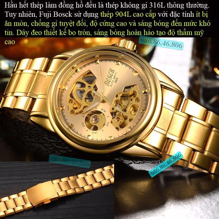 Đồng hồ lộ máy cơ cao cấp mạ PVD vàng kính sapphire chống nước Thụy Sĩ 15