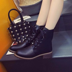 Giày Boot thời trang nữ cổ cao buột dây - LN1413