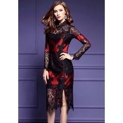 Đầm body ren tay dài cao cấp-Hàng nhập