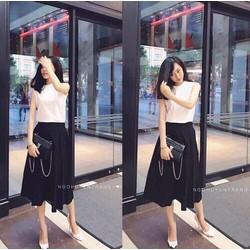 set áo trắng váy đen