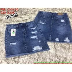 Chân váy jean ngắn tua rua rách xước sành điệu CVJ110