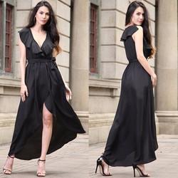 Đầm Maxi Tà Đắp Kèm Thắt Lưng - Đen #99469
