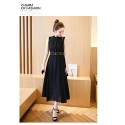 Đầm vintage đen phối ren cao cấp