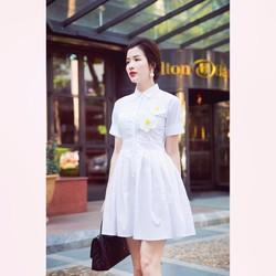 Đầm Xòe Cổ Sơ Mi Xếp Ly Đính Hoa #99467
