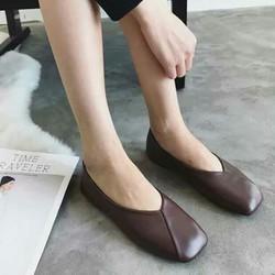 Size 36 - Giày bệt mũi vuông màu nâu