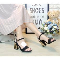 Giày gót vuông vàng mắt lưới | giày cao gót nữ