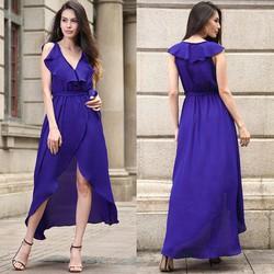 Đầm Maxi Tà Đắp Kèm Thắt Lưng - Tím #99468