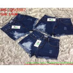 Quần jean short nữ rách bên sành điệu QSO387