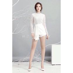 Set Áo Ren Tay Dài Trắng-Quần Váy Thắt Eo Trắng H2O