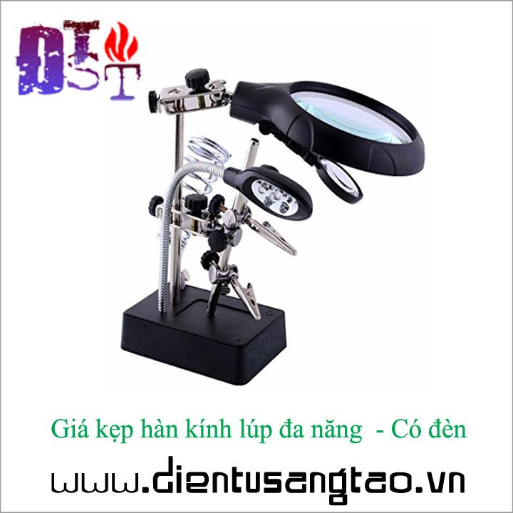 Giá kẹp hàn kính lúp đa năng  - Có đèn 3
