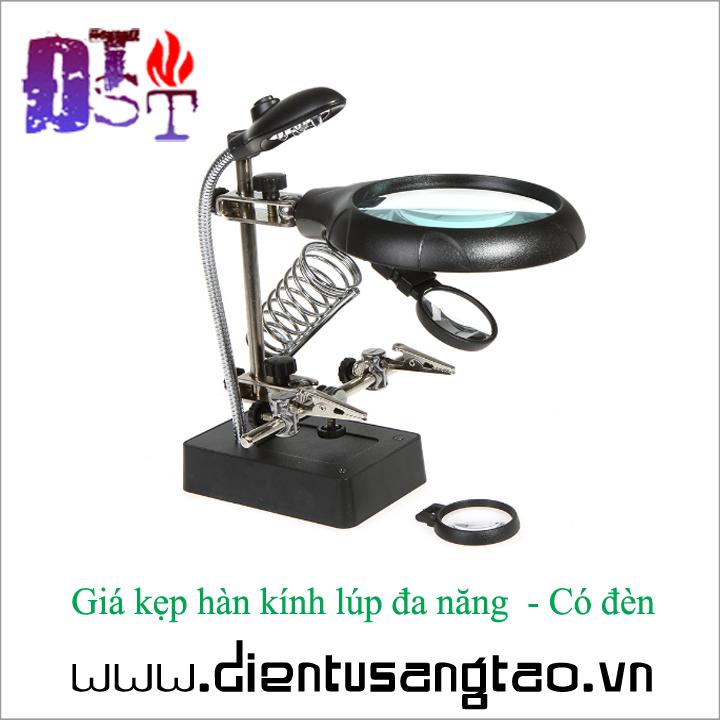 Giá kẹp hàn kính lúp đa năng  - Có đèn 2