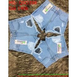 Quần jean short nữ rách kẻ ô lưới phong cách và thời trang QSO398