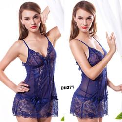 Đầm ngủ hai dây nữ thời trang, thuần màu gợi cảm, mẫu mới sexy-DN371
