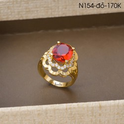 Nhẫn Nữ Đính Đá Sang Trọng UHA N154-đỏ