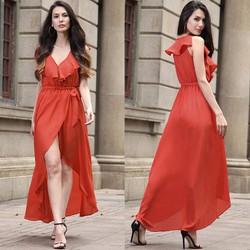 Đầm Maxi Tà Đắp Kèm Thắt Lưng - Cam #99470