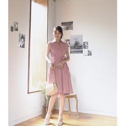 Đầm Xòe Cổ Sơ Mi Kèm Dây Thắt - Hồng #99503
