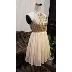 Đầm xòe kim sa phối lưới dập ly thiết kế cao cấp