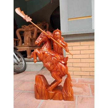 Tượng Quan Công Cưỡi Ngựa Cao 70 Gỗ Xà Cừ - quan công cưỡi ngựa ...