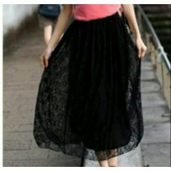 Chân Váy Dài Ren Lưng Thun Duyên Dáng- Thời Trang Hàn Quốc 2017